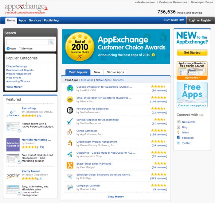 Salesforce AppExchange in 2010